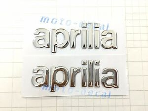 Raised 3D Chrome Emblem Sticker For Aprilia RS250 RSV1000 SMV750 Silver Decal