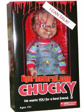 "CHILD'S PLAY SCARRED TALKING CHUCKY 15"" MEGA DOLL Bride Good guy Mezco scars"