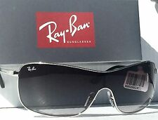 NEW* Ray Ban SHIELD in SIlver frame with Gray Gradient Sunglass RB 3466 $200