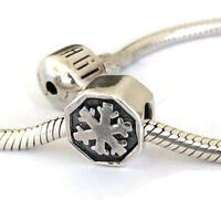 Snowflake Charm Bead for Bracelets Large Hole Sterling Silver