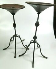 """Partylite Pillar Taper Candle Holder Stand Pair Brown Iron Metal 12"""" & 13"""" Tall"""