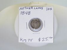 1848 NETHERLANDS 10 CENTS SILVER COIN   KM 75
