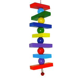 Colourful Wooden Hanging Climb Treat Bell Cage Toy Hamster Mouse Gerbil Parrot
