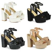 Womens High Heel Platform Block Sandals Ladies Ankle Strap Peep Toe Party Shoes