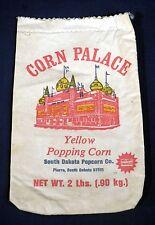 Vtg Corn Palace Yellow Popping Corn 2 lb Linen Cloth Bag South Dakota Popcorn Co