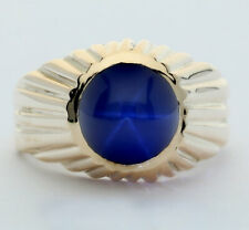 Mens blue star sapphire pinky ring 14K yellow gold round cabochon 3.60C 7.4G sz6