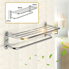 Stainless Steel Double Towel Rail Rack Shelf Wall Mounted Bathroom with 4 Hook