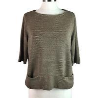J Jill Womens Top Ponte Knit Front Pocket 3/4 Sleeve Brown Size L Petite