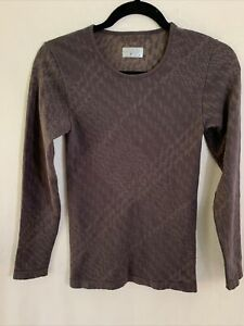 Athleta Top womens Size Small S Organic Cotton Long Sleeve Base Layer Shirt