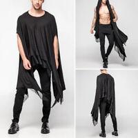 Mens Vintage Gothic Shirt Tops Casual Crew Neck Punk Short Sleeve Kaftan Tunic