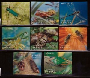 BHUTAN Sc 101-101G NH issue of 1969 - 3D SET+S/S - INSECTS
