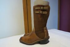 FLY LONDON CAMEL LEATHER COWBOY WESTERN ZIP UP MID CALF BOOTS UK 4 EU37 RRP £130