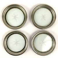 Vintage Set of 4 Coasters Pierced Silver Plate Rim Cut Glass Manning Bowman MCM