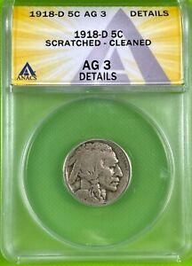 1918 D 5c Buffalo Nickel ANACS AG3 Details (341)