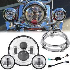 "7"" Daymaker LED Headlight 4.5"" Spot Fog Passing Lights Harley Touring Motorcycle"