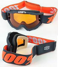 100% Accuri Mx Motocross Gafas Gunmetal Con Naranja tinte de lente Bmx Mtb