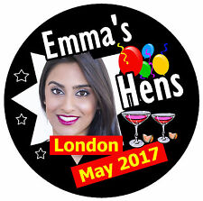 20 X HEN NIGHT PERSONALISED - BIG  BADGES WITH PHOTO / DATE/PLACE/NAME - NEW