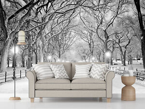 3D Winter Tree Path Self-adhesive Living Room Wallpaper  Sofa Drop Poster Murals