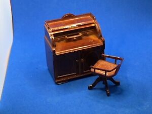 BeDOLL HOUSE MINIATURES /Library Set Roll Top Desk, Chair,