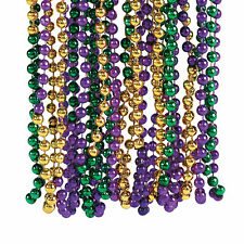 Metallic Tri-Color Mardi Gras Beaded Necklaces - Jewelry - 48 Pieces