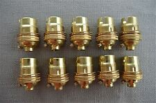10 BRASS BAYONET FITTING BULB HOLDER LAMP HOLDER EARTHED WITH SHADE RING 10MM L2
