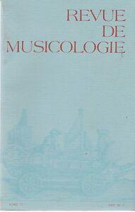 revue de musicologie, tome 73-1987, n°1