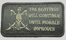 BEATINGS WILL CONTINUE UNTIL IMPROVE PIRATE ACU LIGHT VELCRO® BRAND PATCH