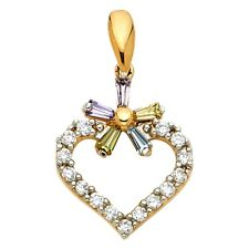 Love Cz Multi Color 14 x 21 mm Flower Heart Charm Solid 14k Yellow Gold Pendant