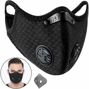 Sports Anti-Pollution Breathable,Cycling, Face Protection with Filter Black 2PCS