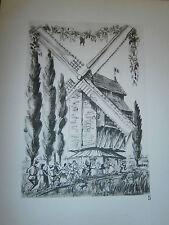 Gravure moulin a vent par P. Valade Nord Wezel meulen Merckeghem de la belette
