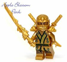 NEW Lego Ninjago Green & GOLD NINJA MINIFIG Lloyd Minifigure Dragon Swords 70505