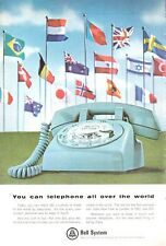 1965 Bell System Telephone Vintage Desk Dial Phone International Flags PRINT AD