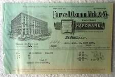 1897 BILLHEAD ST PAUL MN FARWELL OZMUN KIRK & CO WHOLESALE HARDWARE #gy7