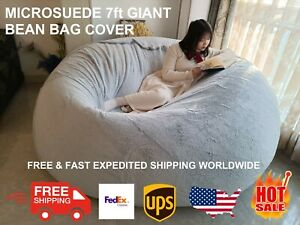 Microsuede 7ft Foam Giant Fluffy Memory Bean Bag Room Chair Lazy Sofa Soft Cover