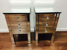 Pair of Venetian Mirrored Bedside Tables - 3 Drawers
