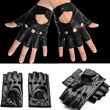 Fashion Schwarz Halb Finger Fingerfrei Handschuhe aus PU Leder bei Fahren Tanzen