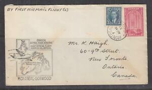 CANADA, 1939 First Flight cover, MONTREAL to Botwood, 5c. & 10c.