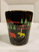 Vintage Minnesota Land of 10,000 Lakes Black Ceramic Shot Glass