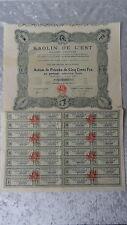 Kaolin de L'Est-Action de Priorité de Cinq Cents Frs.Strasbourg-1927