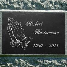 Grabstein Grabplatte Gedenktafel Hände zum Gebet ►Wunsch - Gravur◄ 20 x 15 cm