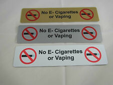 No Vaping or E-Cigarette Sign Aluminium 170x40mm. Pub, club, bar, cafe