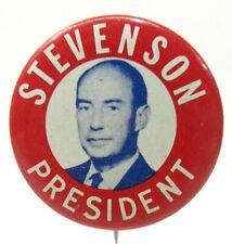 "1950's STEVENSON PRESIDENT photo 1 3/8"" tin litho pinback button z"
