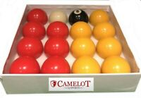 2 INCH REDS AND YELLOWS POOL BALLS WITH 1 7/8 WHITE BALL (UK STANDARD SIZE)