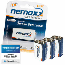 3x NEMAXX 9V Block POWER PLUS 1200 mAh Lithium Batterie - 10 Jahre Lebensdauer