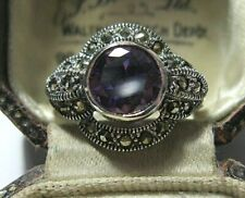 Vintage Style Art Deco Sterling SILVER Marcasite & Amethyst Stone RING N 6.75