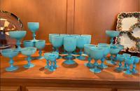 Antique Vintage Portieux Vallerysthal French Blue Opaline Set of 28 glasses