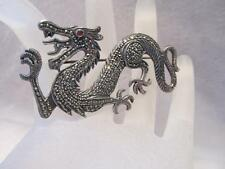 Vintage Antique Dragon Marcasite Sterling Silver Pin/Brooch