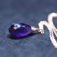 Natural Purple Amethyst Pendant Briolette Drop 14k Rose Gold Filled February