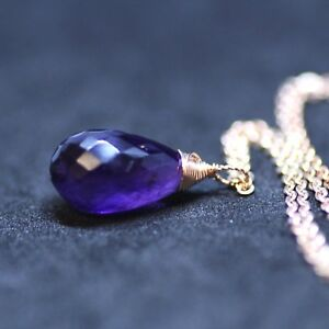 Natural Purple Amethyst Pendant Briolette Drop 14k Rose Gold Filled  February