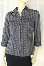 SIZE 10 JACQUI E GREY STRIPED 3/4 SLEEVE BLOUSE BUTTON FRONT SHIRT